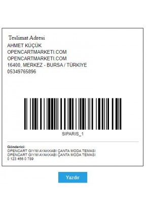 Opencart Kargo Etiketi Modülü