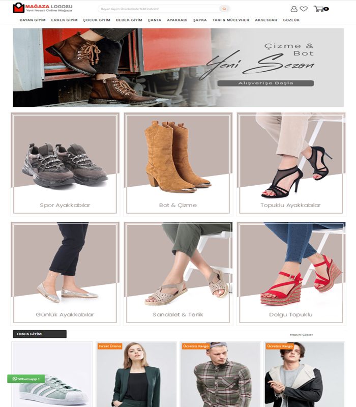 Opencart 3x Ayakkabı Teması v2