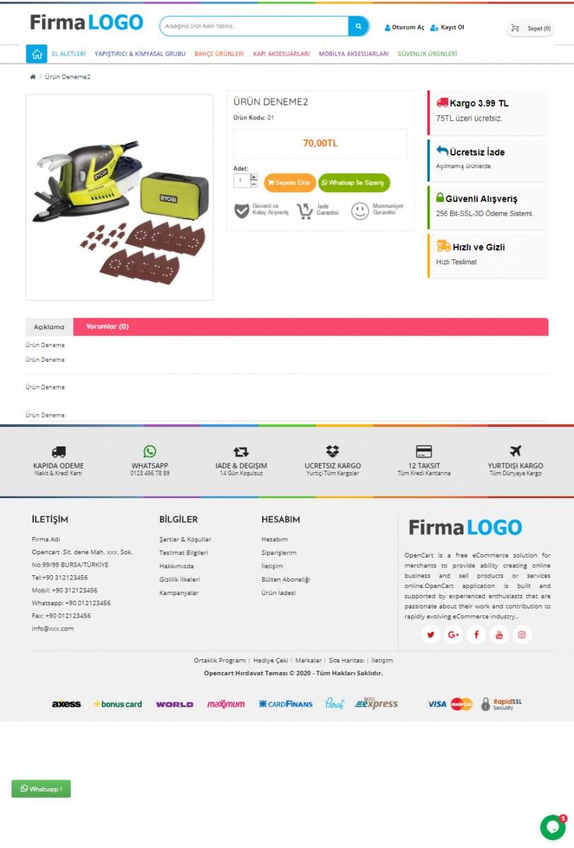 Opencart 3x Hırdavat Teması